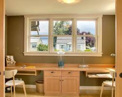 desk for home office. Enchanting Windows In The Office Installed Above Soft BrownPine Desks For Home Two People Which Has White Wingback Small Chairs Desk