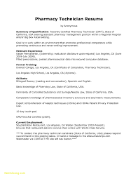 Pharmacy Technician Resume Sample No Experience New Sample Entry