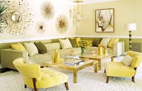 Yellow Living Room Decor Living Room Gray Benches White Chandeliers White Chaise Lounges