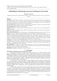 Fluid Balance Chart Nursing Pdf Fluid Balance Monitoring Accuracy In Intensive Care Units