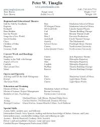 Theatre Resume Template Simple Musician Resume Template Theatre Resume Sample Musician Resume