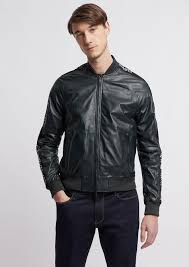 soft nappa leather er jacket with jacquard logo bands