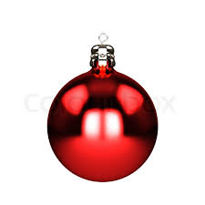 Red christmas decorations baubles isolated on white | Stock Photo |  Colourbox