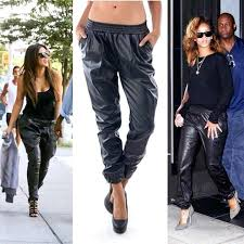 leather joggers women look womens