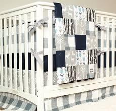 woodland nursery bedding set deer crib bedding navy blue gray