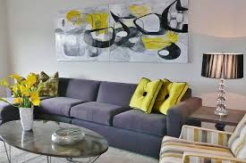 on black grey and yellow wall art with modern living room with abstract art yellow accents hgtv