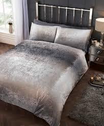 rapport crushed velvet stardust shimmer duvet cover bedding set silver grey bb textiles bb textiles