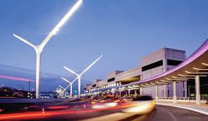the approach to tom bradley international terminal with the new lighting improvements which feature a