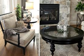 Living Room Coffee Table Round Glass Top Pier One Coffee Table In Black On Quatrefoil Area