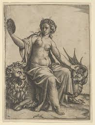 FilePrudence as a young woman sitting on a lion and holding the