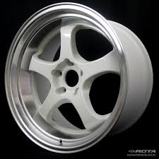 rota wheels 5x100. rota d2-ex white / polished lip rota wheels 5x100 e