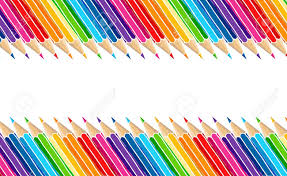 Bright Multicolor Pencils Border Isolated Over White Art Stationery