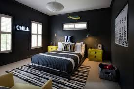 Bedroom, Surprising Teenage Guys Room Design Awesome Boy Bedroom Ideas  Black And White Bedcover With ...