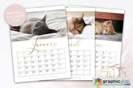 Photoshop Calendar Template 2020 Printable Monthly Calendar 2020 Cats Free Download Vector
