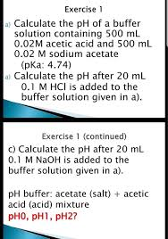 Solved Exercise L A Calculate The Ph Of A Buffer Solutio