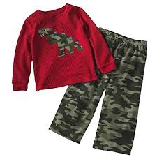 Amazon Com Carters Camo Dinosaur Fleece Pajama Set 4t
