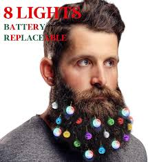 Beard Lights Decotiny Battery Replaceable 20 Beard Lights Ornaments 8 Pcs Lights And 12 Pcs Colorful Sounding Jingle Bells Xmas Men Gifts 8 Led 12 Bells