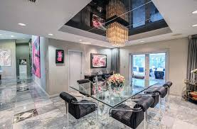 modern dining rooms. Glam Modern Dining Room With Marble Floors And Tray Ceiling Rooms