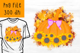 Use this lovely, realistic sunflower on all kinds of projects! 3 Sunflower Pumpkin Sublimation Png Designs Graphics