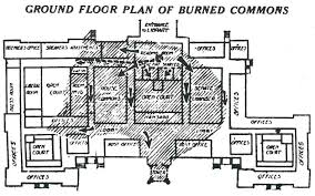 the hatched area shows the extent of the worst fire damage with arrows indicating the progress of its spread owing to the 1906 extension the ground plan