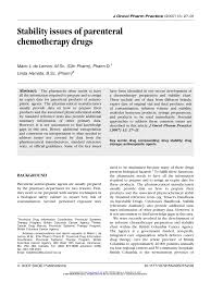 Bc Cancer Agency Chemotherapy Preparation And Stability Chart Pdf Stability Issues Of Parenteral Chemotherapy Drugs