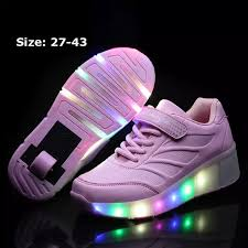 Boys Girls Fashion Sneakers Durable Single Wheel Led Lighted Roller Skate Heelys Invisible Wheel Skate Shoes Sportsshoes Sneakers Pink