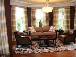 brown living room with plaid ds