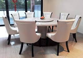 dining room wonderful round marble dining table for 8 cream dining chairs used small round brown carpet front gl doors beside white wall the cly and