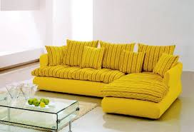 elegant yellow couch design with stripe pattern and loveseat and glass  rectangle coffee table and area