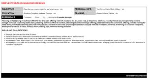 Presales Manager Resume Cover Letter Cv Letters Resumes