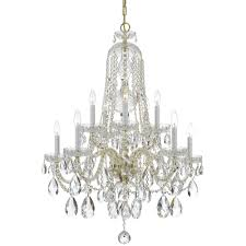 crystorama traditional crystal 10 light clear crystal brass chandelier i