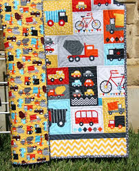 141 best vehicles quilts images on Pinterest | Drawings, Projects ... & Baby Boy Quilt Toddler Bedding Car Vehicles Trucks Cars Bikes Buses Dump  Truck Gray Blue Red Yellow Ready Set Go Ambulance Fire Truck Retro Adamdwight.com
