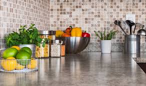kitchen countertop with food ings and herbs