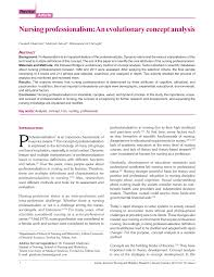 Professionalism In Nursing Pdf Nursing Professionalism An Evolutionary Concept Analysis