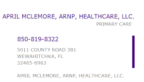 1639796618 NPI Number | APRIL MCLEMORE, ARNP, HEALTHCARE, LLC. |  WEWAHITCHKA, FL | NPI Registry | Medical Coding Library |  www.HIPAASpace.com © 2020