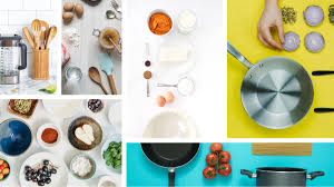 collage of kitchen cooking tools cookware utensils food