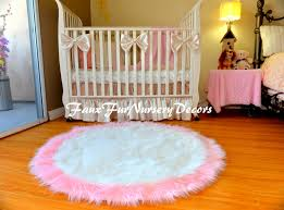 special design faux fur gy rugs baby pink edges white pertaining to round rug for girls