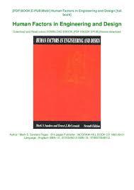 Human Factors In Engineering And Design Book Download Human Factors In Engineering And Design Book Online