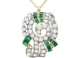 synthetic emerald and diamond pendant