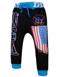 Jogger Blue And Black L Lace Up Color Block Spliced Flag And