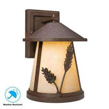 lodge 1 light weathered spruce outdoor wall lantern