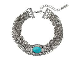 steve madden oval turquoise stone w four row chain choker necklace silver womens jewelry necklaces chokers steve madden ever por