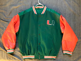 men s steve barry s ncaa miami hurricanes faux leather varsity jacket size m