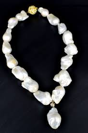 large baroque freshwater pearl necklace w baroque pendant white