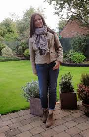 stone quilted biker style jacket tesco checked scarf men s section in zara boyfriend jeans gap suede ankle boots mango