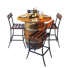 wine barrell furniture. round top table set wine barrell furniture