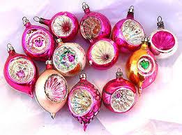 12 Pink Mercury Indents Vintage Christmas Ornaments Poland Fantasia 1940s  50s
