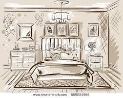 Interior Design Classic Bedroom Double Bed Stock Vector 559084966