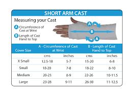 short size size charts cast covers arm casts leg casts