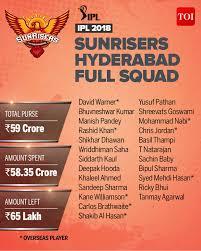 Srh Team 2018 Sunrisers Hyderabad Ipl 2018 Players List